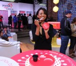 Kat Graham stops by the Yoplait Greek Taste-Off store in SoHo NYC
